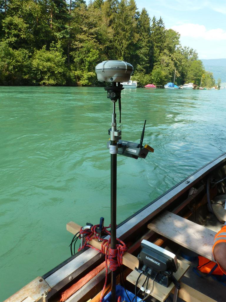 Echolotmessung auf dem Fluss