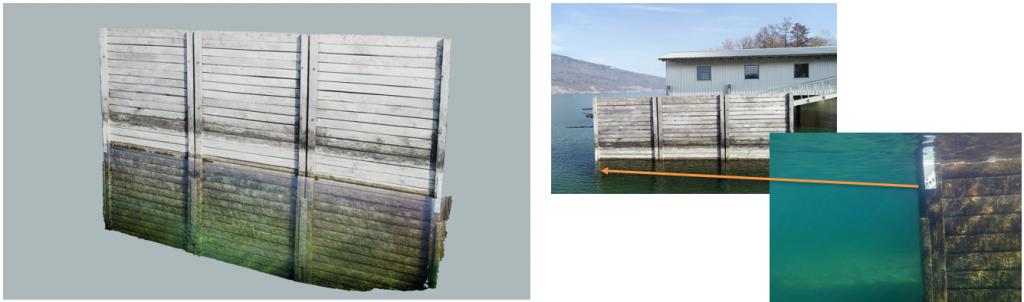 drei Bilder eines Wellenbrechers