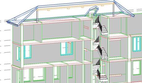 3D-Ausschnitt mehrstöckiges Gebäude