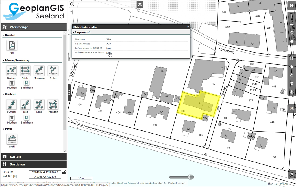 ÖREB-Auszug im WebGIS