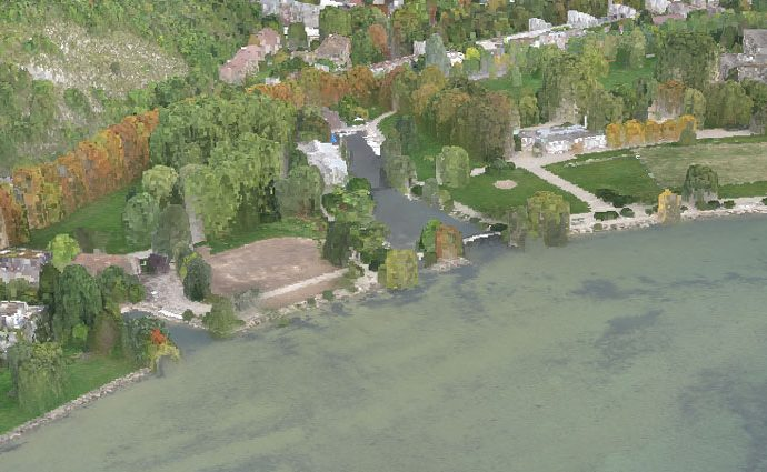 Bieler Seeufer Punktwolke 3D-Ansicht