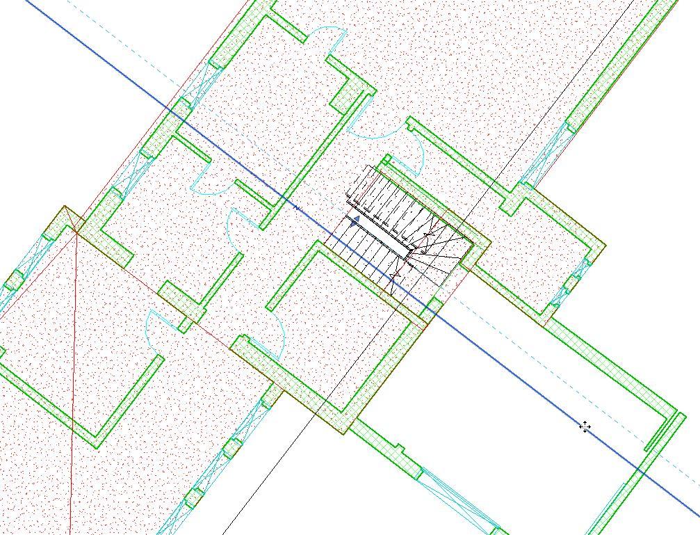 Draufsicht in 2D eines Gebäudes